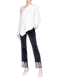 Lanvin Guipure lace cuff satin cropped pants