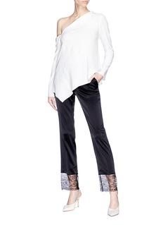 Lanvin Chantilly lace cuff satin cropped pants