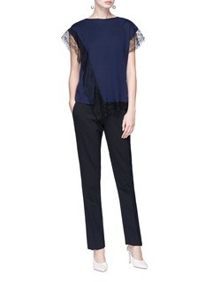Lanvin Guipure lace trim wool blend top