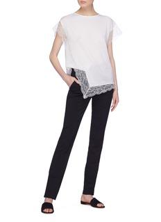 Lanvin Chantilly lace split hem knit top