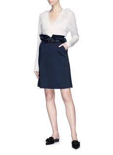 Lanvin Ruffle trim wool blend cardigan