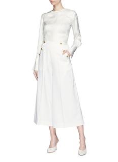 Lanvin Mock button flap wool suiting sailor culottes