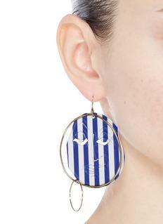 JW Anderson Mismatched stripe moon face drop earrings
