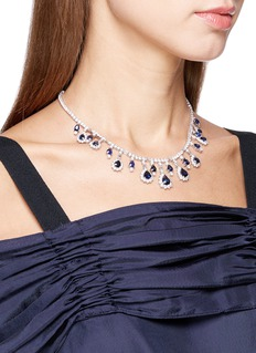 LC COLLECTION JEWELLERY Diamond sapphire platinum and silver necklace