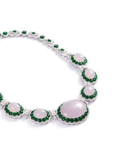 LC COLLECTION JADE Diamond jade 18k white gold necklace