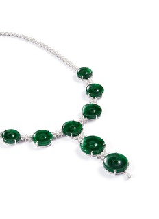 LC COLLECTION JADE Diamond jade 18k white gold disc necklace