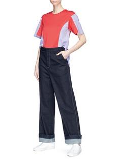 Minki Staggered cuff stripe poplin panel T-shirt
