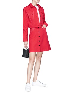 Minki Topstitching wool twill skirt