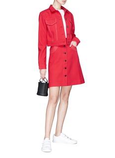 Minki Topstitching wool twill cropped jacket