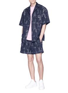 FENG CHEN WANG 车缝线混棉及亚麻衬衫