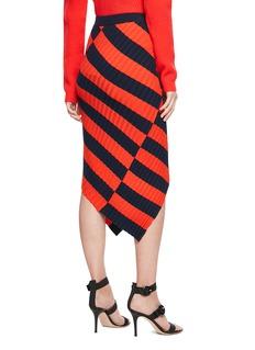 ALTUZARRA Mallory不对称条纹罗纹针织半裙