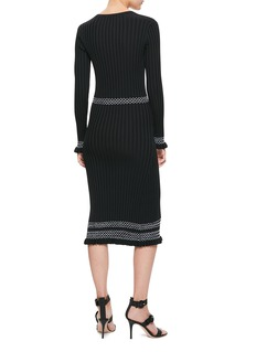 ALTUZARRA Isolde菱格条纹深V罗纹针织连衣裙