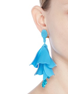 Oscar de la Renta 'Impatiens' large petal drop clip earrings