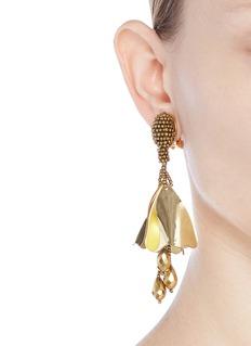 Oscar de la Renta 'Impatiens' mini metallic petal beaded drop clip earrings