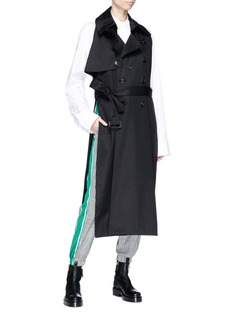 FACETASM Safety pin belted sleeveless twill trench coat