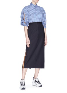 FACETASM Ball chain hem slit sleeve check plaid cropped shirt
