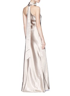 Galvan London Sash halterneck satin maxi gown