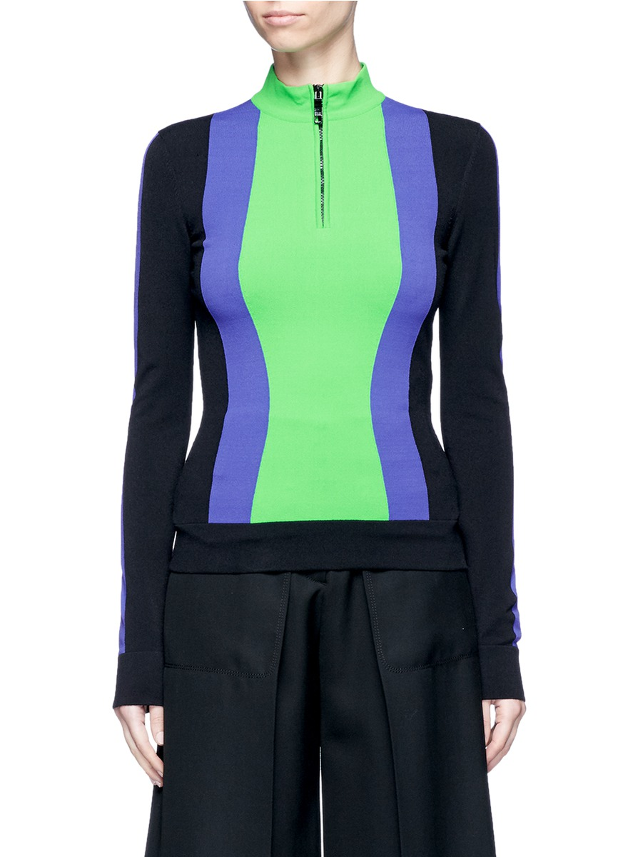 Contrast stripe zip front sweater by Emilio Pucci