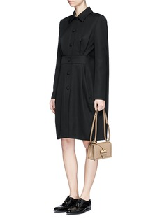 Lanvin Tuck pleat waist cape back wool coat