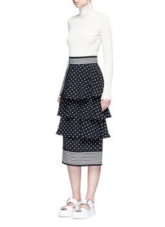 Stella McCartney'India' tiered polka dot stripe silk skirt