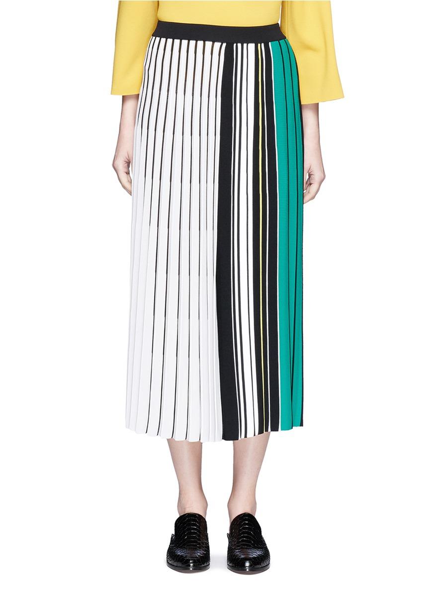 mrz female contrast stripe plisse pleat knit skirt
