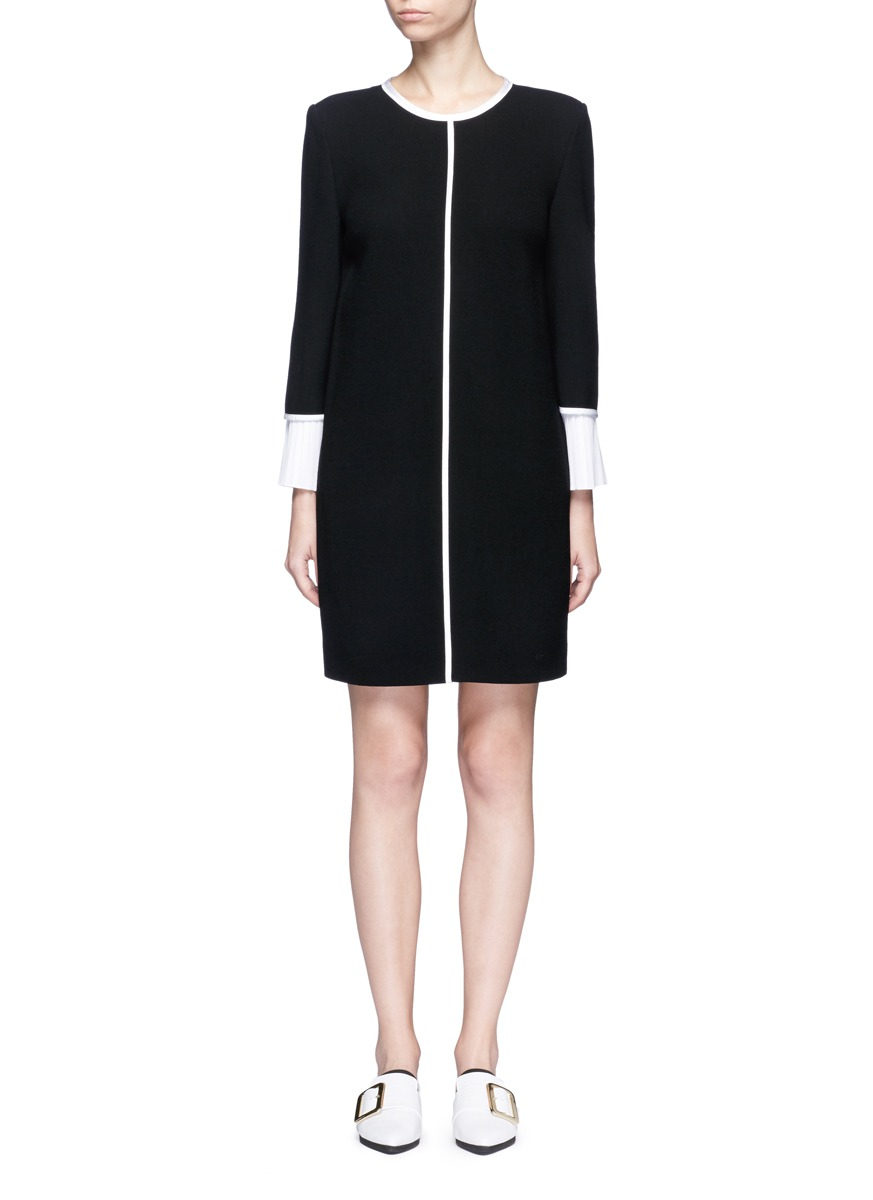 Pleated cuff wool shift dress by VICTORIA, VICTORIA BECKHAM