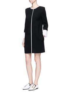 VICTORIA, VICTORIA BECKHAMPleated cuff wool shift dress
