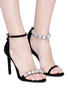 CALVIN KLEIN 205W39NYC 'Camille' glass crystal strap suede sandals