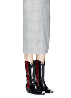 CALVIN KLEIN 205W39NYC 'Western Ellie' stripe leather mid calf boots