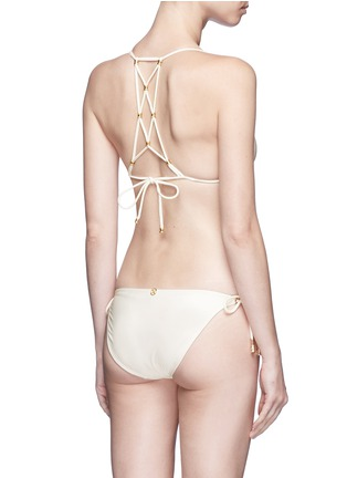 Back View - Click To Enlarge - ViX - 'Lucy' 24k brushed gold bead triangle bikini top