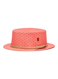 My Bob Polka dot perforated straw boater hat