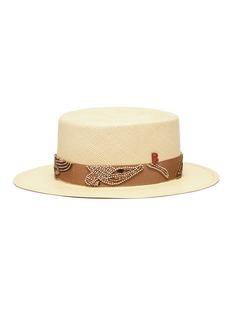 My Bob Beaded straw boater hat
