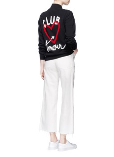Etre Cecile  'Club Amour' flocked heart bomber jacket