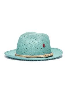 My Bob Polka dot perforated straw fedora hat