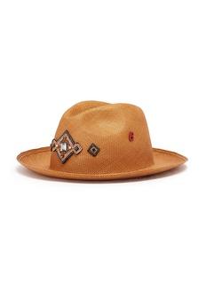 My Bob 'Tiara' jewelled appliqué straw fedora hat