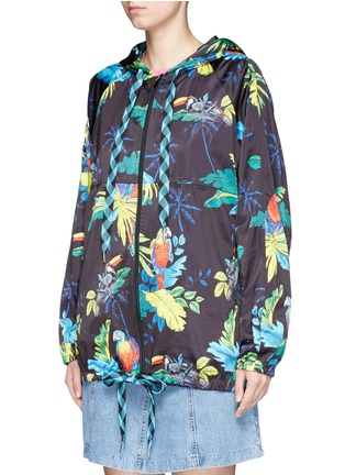 Front View - Click To Enlarge - Marc Jacobs - Parrot print packable drawstring hoodie