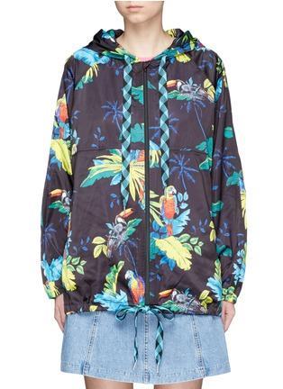 Main View - Click To Enlarge - Marc Jacobs - Parrot print packable drawstring hoodie