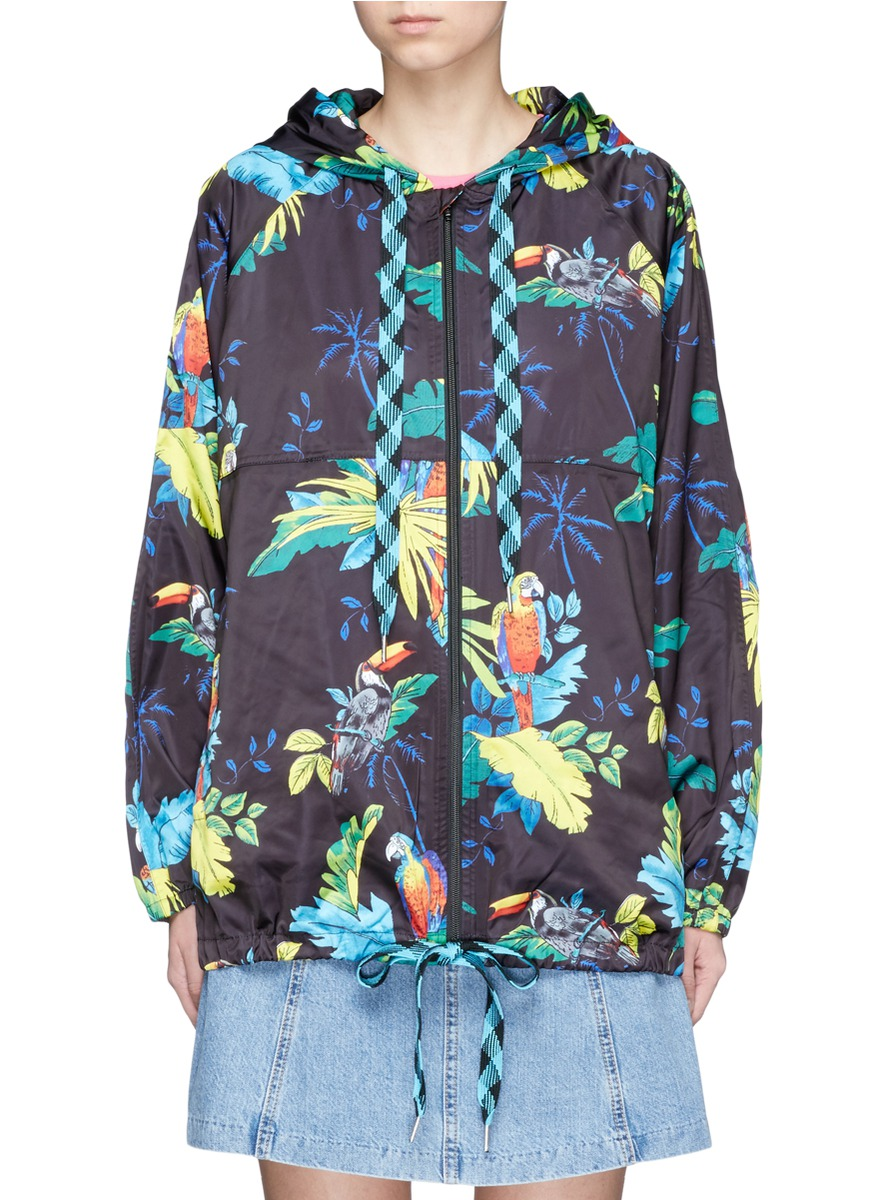 marc jacobs female parrot print packable drawstring hoodie