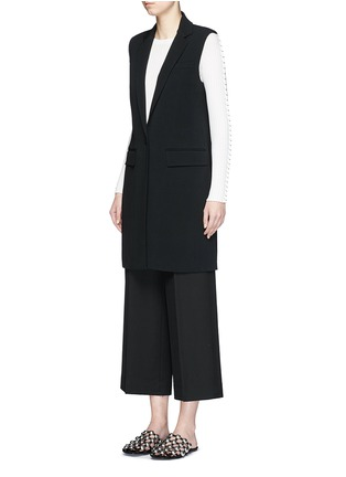 Front View - Click To Enlarge - Alexander Wang  - Lace-up back tailored long vest