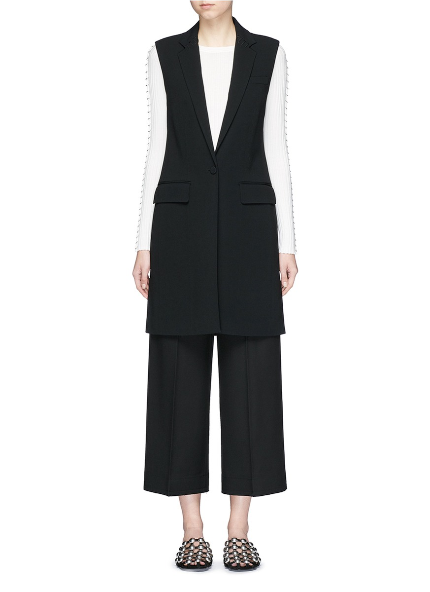 Lace-up back tailored long vest by Alexander Wang