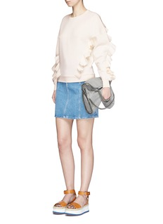 Stella McCartneyRuffle trim cotton blend sweatshirt