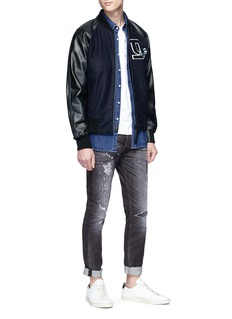 Denham Logo patch leather jacket
