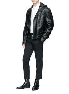 Helmut Lang Detachable vest cow leather jacket