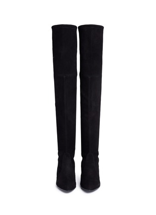 Front View - Click To Enlarge - Stuart Weitzman - 'Tie Model' stretch suede knee high boots