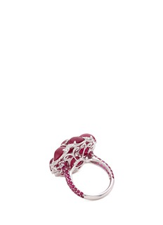 LC Collection Diamond ruby 18k white gold floral ring