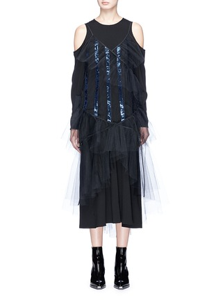 Main View - Click To Enlarge - YCH - Sequin stripe sheer tulle camisole dress