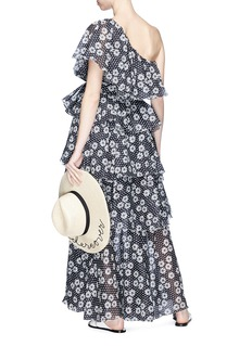 Lisa Marie Fernandez 'Arden' polka dot daisy print ruffle one-shoulder dress