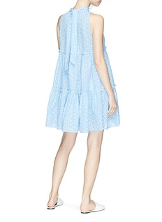 Lisa Marie Fernandez 'Erica' tie neck daisy broderie anglaise tiered mini dress