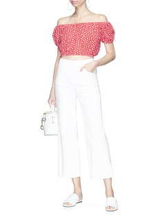 Lisa Marie Fernandez 'Leandra' daisy broderie anglaise off-shoulder cropped top