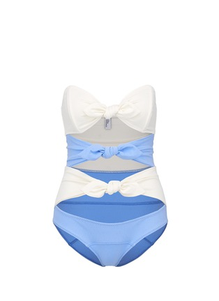 Main View - Click To Enlarge - Lisa Marie Fernandez - 'Triple Poppy' bow knot one-piece crepe swimsuit